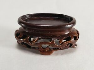 Chinese Wood Snuff Bottle Stand For Peking Jade Amethyst Ming Qing Dynasty