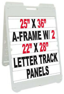 25 x36 Plastic Sidewalk Sandwich Board A frame Sign W letter Track And Letters