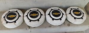 Vintage Chevy Truck White W Black Gold Painted 10 1 2 Hubcaps Set Of 4