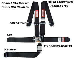 Sfi 16 1 Racing Harness 5 Point Latch Link 3 Seat Belt Black Or Any Color