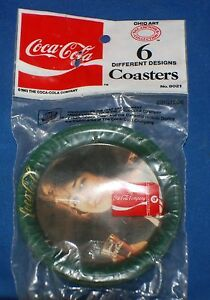 Coca-Cola Coasters Victorian Lady In the Original Package Full Set Of 6 Vintage