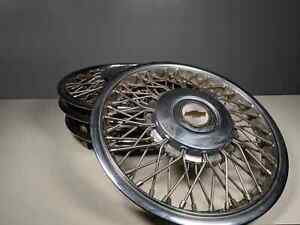 1986 96 Set Of 4 Chevy Caprice Rwd Wire Spoked Hubcap Wheel Covers Center Adapt