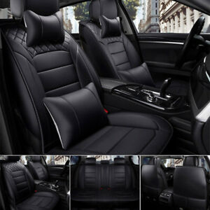 Luxury Black Pu Leather Car Seat Cover 5 Seats Suv Front Rear Cushions Universal