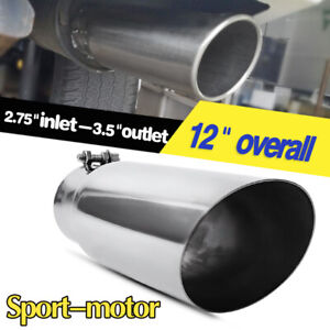 Diesel Exhaust Tip 2 75 Inlet 3 5 Outlet Tail Pipe S s Angle Cut 12 Inch Long
