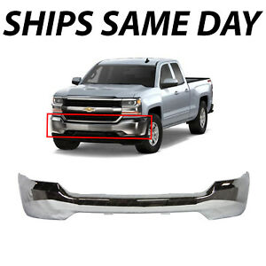 New Chrome Steel Front Bumper Face Bar For 2016 2018 Chevy Silverado 1500 16 18