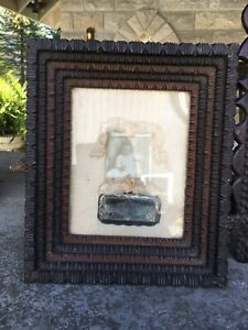 Antique Tramp Folk Art Deep Frame Mourning Memorial Picture Thickly Carved