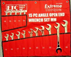Metric Open End 4 Way Angle Wrench Set 10 To 24mm Extreme Torque W Canvas Wrap