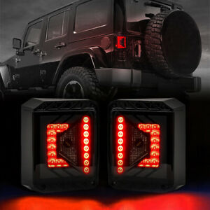 Smoked Led With Red Lens Tail Lights For 2007 2018 Jeep Wrangler Jk Jku Pair