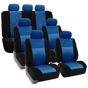 3 Row Seat Cover Full Set For Auto Suv Blue Black For Car Sedan Suv Van Bench