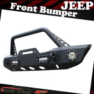 Textured Front Bumper With Light Winch Plate For 2007 2018 Jeep Wrangler Jk