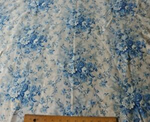Antique French 19thc Roller Printed Blue Floral Home Chintz Fabric L 43 X W 33