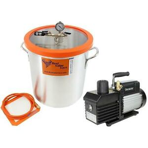 Bvv Best Value Vacs 10 Gallon Aluminum Vacuum Chamber And Ve280 9cfm Two Stag