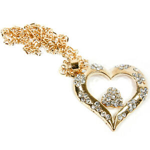 Double Heart Rear View Mirror Hanging Car Charm Ornament Gold Pendant W Chain