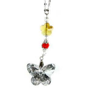 Crystal Bling Butterfly Gem Rear View Mirror Hanging Car Charm Ornament Pendant