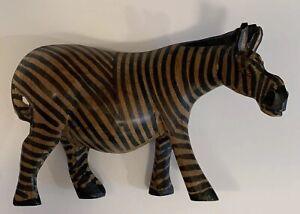 Decorative Hand Carved Wood Wooden Zebra Figurine Statue