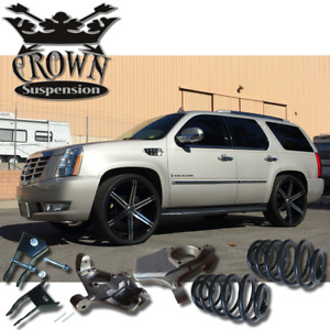Crown Suspension 2007 2014 Escalade Esv Ext Lowering Kit Spindles Coils Springs