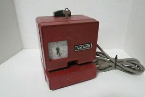 Vintage Amano Electric Time Punch Clock Red Metal Model 3807 W key Japan