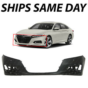 New Primered Front Bumper Cover Fascia For 2018 2019 Honda Accord Sedan W Park