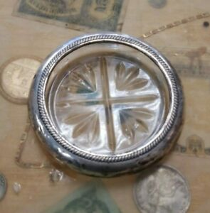 Vintage Fb Rogers Silver Co Sterling Silver Glass Ashtray