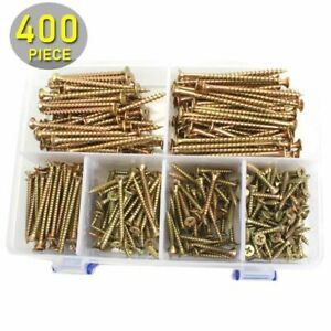 Wood Screws 400pcs 20mm 70mm M4 Flat Phillips Head Exterior Assortment Kit Tools