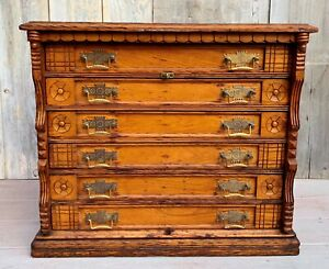 Antique Victorian Eastlake Clark S 6 Drawer Spool Cabinet Jewelry Makers 1900