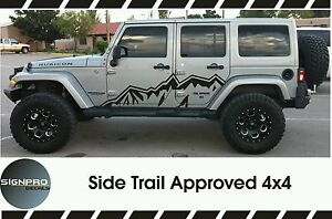 Jeep Wrangler Side Hood Door Fender Decal Rubicon Sahara Willy s Customize Text