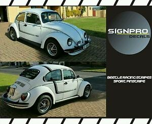 Classic Rally Racing Stripes Decal Shadow Fader Blackout Fits Volkswagen Beetle