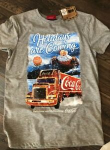 PRIMARK MENS XMAS COCA-COLA LORRY T-SHIRT BNWT ALL SIZES HOLIDAYS ARE COMING..