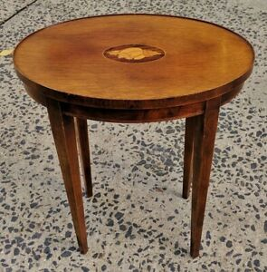 Vintage American French Style Conch Shell Inlaid Oval Table Stand By Baker