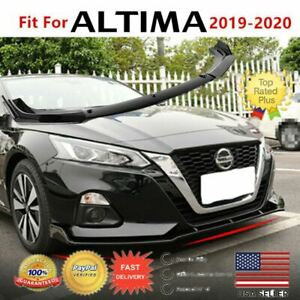 Fit For 2019 2020 Nissan Altima Gloss Black Front Bumper Lip Spoiler Splitter
