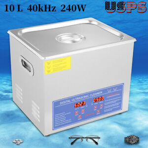 10l Ultrasonic Cleaner Watch Jewelry Cleaning Machine Bath Tank Timer Heating Us