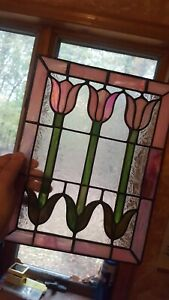 3 Tulip Floral Design Tiffany Style Stained Glass Window Panel 12 X 9 1 4