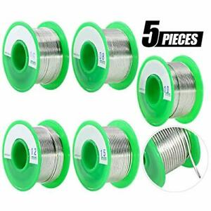 Swpeet 5pcs 5 Sizes Lead Free Solder Wire With Rosin Core Sn 99 Ag 0 3 Cu