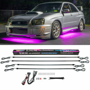4pc Ledglow Pink Slimline Led Neon Underbody Under Glow Car Accent Lights Kit