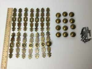 Vintage Brass Back Plate Knob Drawer Door Pull Lot Of 13 Sets Backplate