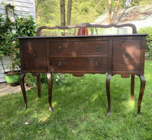 Vintage Antique Sideboard Buffet With Mirror