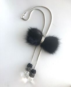 Car Rear View Mirror Pendant Bow Crystal Interior Jewelry Decor Hanging Ornament