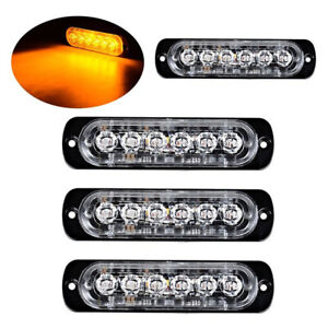 4pc Amber Amber 6led Car Truck Emergency Warning Hazard Flash Strobe Light