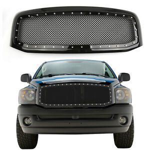 Rivet Style Ss Wire Mesh Grille Shell For 06 08 Dodge Ram 1500 2500 3500 Black