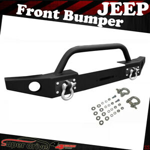 For 2007 2018 Jeep Wrangler Jk Full Width Black Front Bumper With Winch Plate