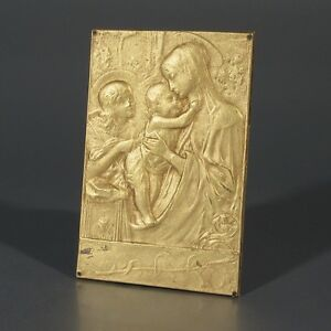 Antique French Devotional Plaque Signed The Virgin Mary With The Infant Jesus