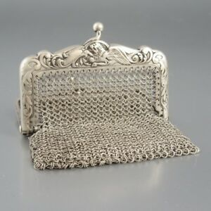 Antique French Sterling Silver Mesh Purse Two Compartments Griffon Lion