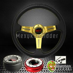 Gold Deep Dish Steering Wheel Red Quick Release For Acura Integra 1994 2001