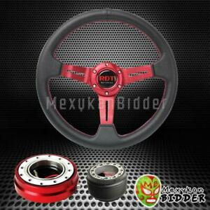 Red Deep Dish Steering Wheel Quick Release Hub Kit For Honda Civic crx 88 91