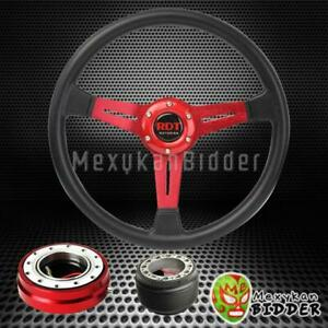 14 Black Red Steering Wheel Red Quick Release Hub For Honda Civic 92 95