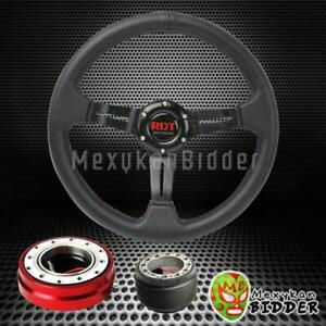 Black Deep Dish Steering Wheel Red Quick Release For Acura Integra 1994 2001