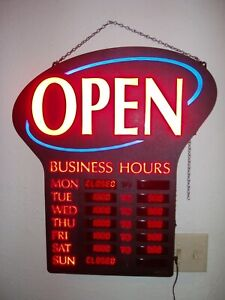 Newon Open Sign With Programmable Digital Led Business Hours