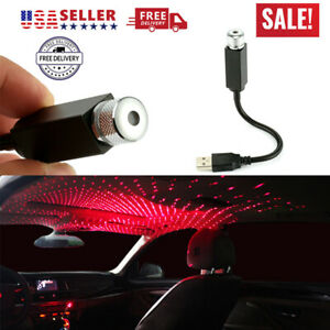 Car Interior Led Atmosphere Red Light Usb Charge Floor Decor Lamp Accessory New