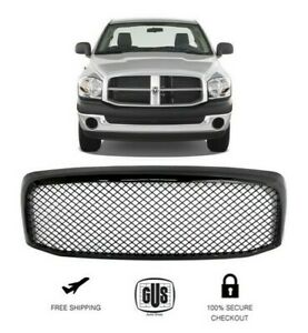 For 2006 To 2008 Dodge Ram 1500 Gloss Black Sport Mesh Front Grille Grill