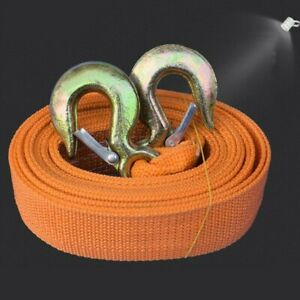 8 Tons Car Tow Cable Towing Strap Rope With Hooks Emergency Heavy Duty 20 Ft
